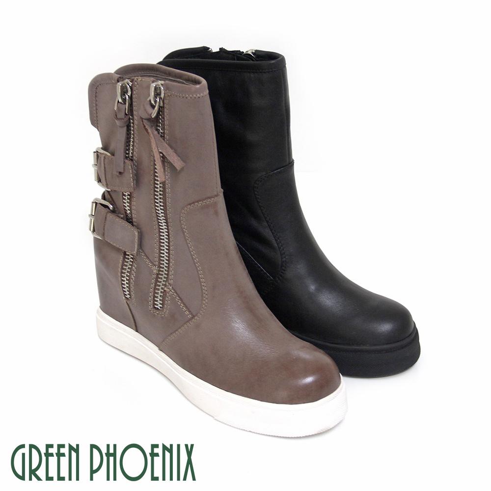 【GREEN PHOENIX】雙金屬扣刷色仿舊義大利原裝進口油臘牛皮拉鍊內增高短靴