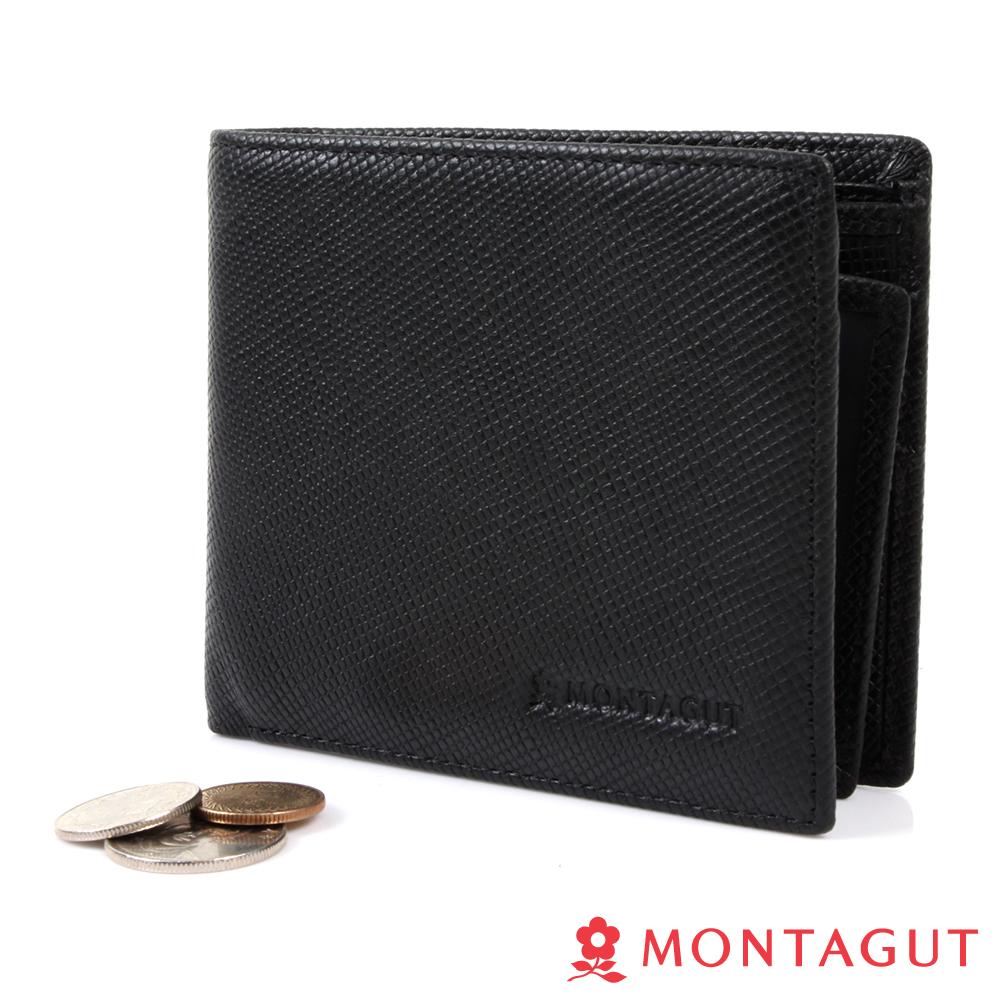 MONTAGUT夢特嬌-細網紋頭層牛皮真皮 短夾-5卡3照2夾1零