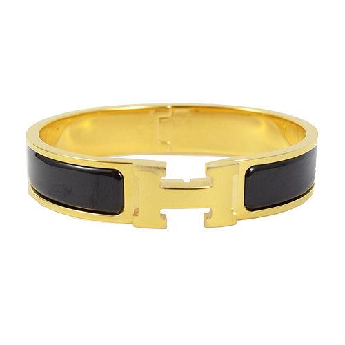 HERMES 新款時尚配件CLIC CRACK 時尚扣式手環.金/黑PM