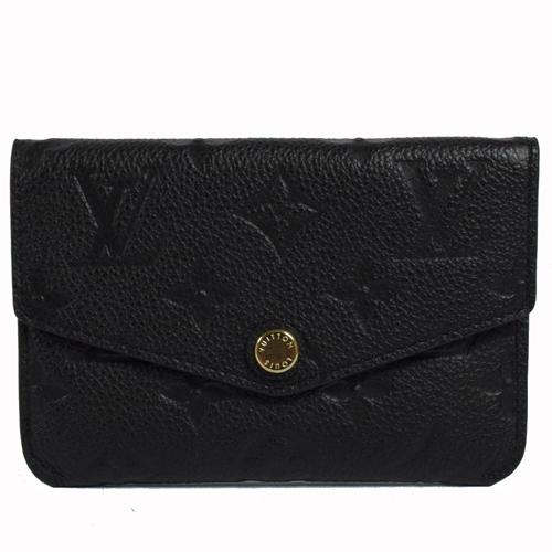 Louis Vuitton LV  經典花紋全皮革壓紋鑰匙零錢包.黑 現貨