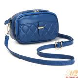 MOROM 經典羊皮柔感多隔層二用包(藍色)2695