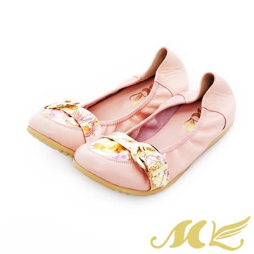 MK-印花扣帶彈力娃娃鞋-粉色