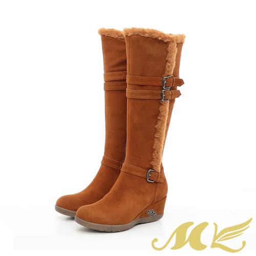 【MK】手作真皮系列-刷毛扣帶蒙古楔型長靴-棕色