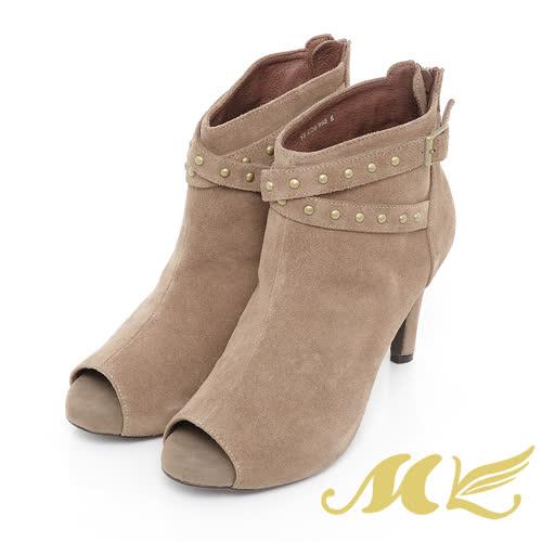 MK-麂皮交叉鉚釘魚口高跟短靴