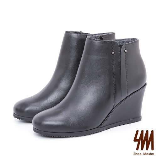 SM-手工全真皮-極簡素面拼接高跟楔型短靴-黑色