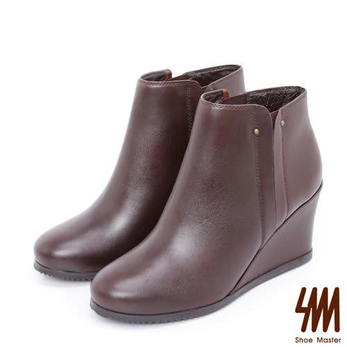 SM-手工全真皮-極簡素面拼接高跟楔型短靴-咖啡