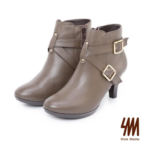 SM-手工全真皮-率性素面交叉扣粗高跟短靴-咖啡