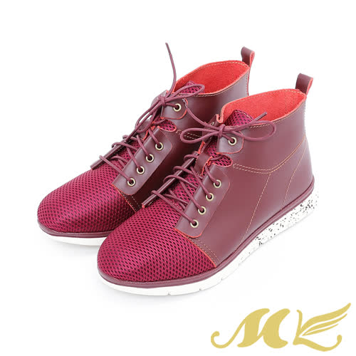 MK-輕量透氣休閒高筒運動鞋-紅色