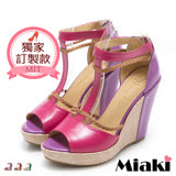 【Miaki】MIT 楔型鞋真皮渡假女伶厚底露趾魚口鞋 (紅色 / 紫色 / 綠色)