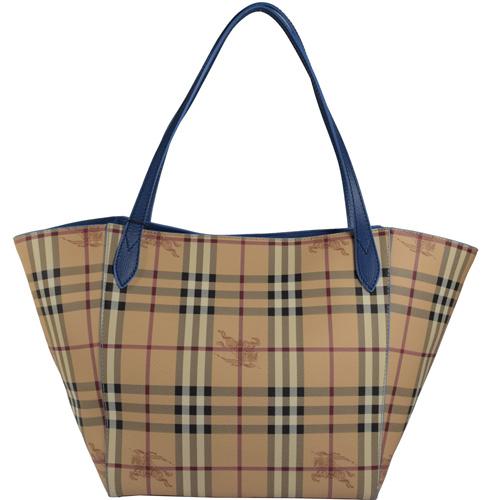 BURBERRY  經典戰馬格紋肩背托特購物包.駝/藍邊