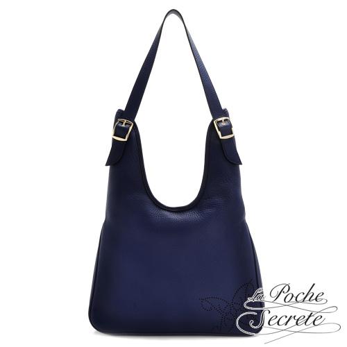 La Poche Secrete 經典時尚牛皮Elegant肩背包-深海藍