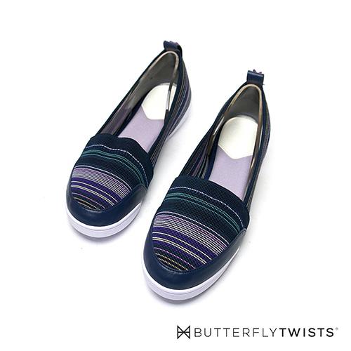 BUTTERFLY TWISTS-錐形楦頭 多彩編織款 記憶軟墊平底鞋-夜蔚藍