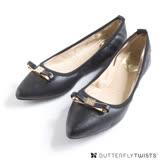 BUTTERFLY TWISTS-金屬蝴蝶結 記憶軟墊平底鞋-經典黑