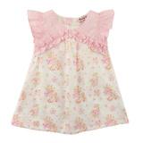 【愛的世界】SUPERMINI 小小花園系列純棉抓皺荷葉邊前襟花卉半袖洋裝/6~8歲-台灣製-