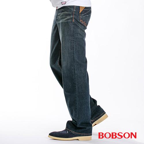 BOBSON 男款皮革口袋中直筒牛仔褲 1714-52