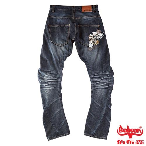 BOBSON 男款翻轉系列立體摺痕褲管翻轉牛仔褲 1773-52