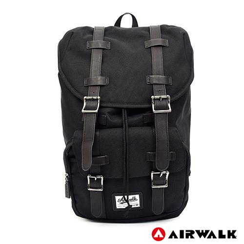 AIRWALK -水洗帆布雙扣蓋束口後背包-黑色