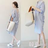 【韓系女衫】現貨XL- 秋小露背長版清新襯衫