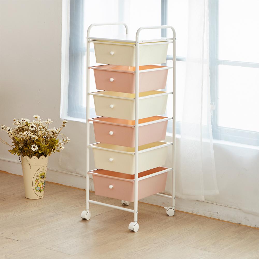 【ikloo】可移式漾彩粉嫩六層抽屜車/收納箱(買一送一)