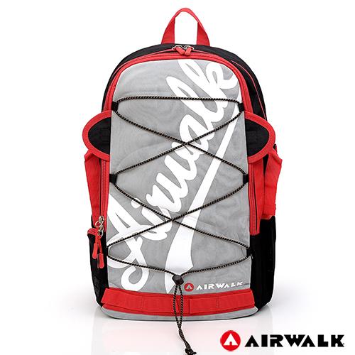 AIRWALK - 撞色字母 雙層護脊輕量筆電後背包-灰