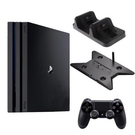 PS4 PRO 7218 1TB 黑+slim/pro雙用直立架+DOBE座充