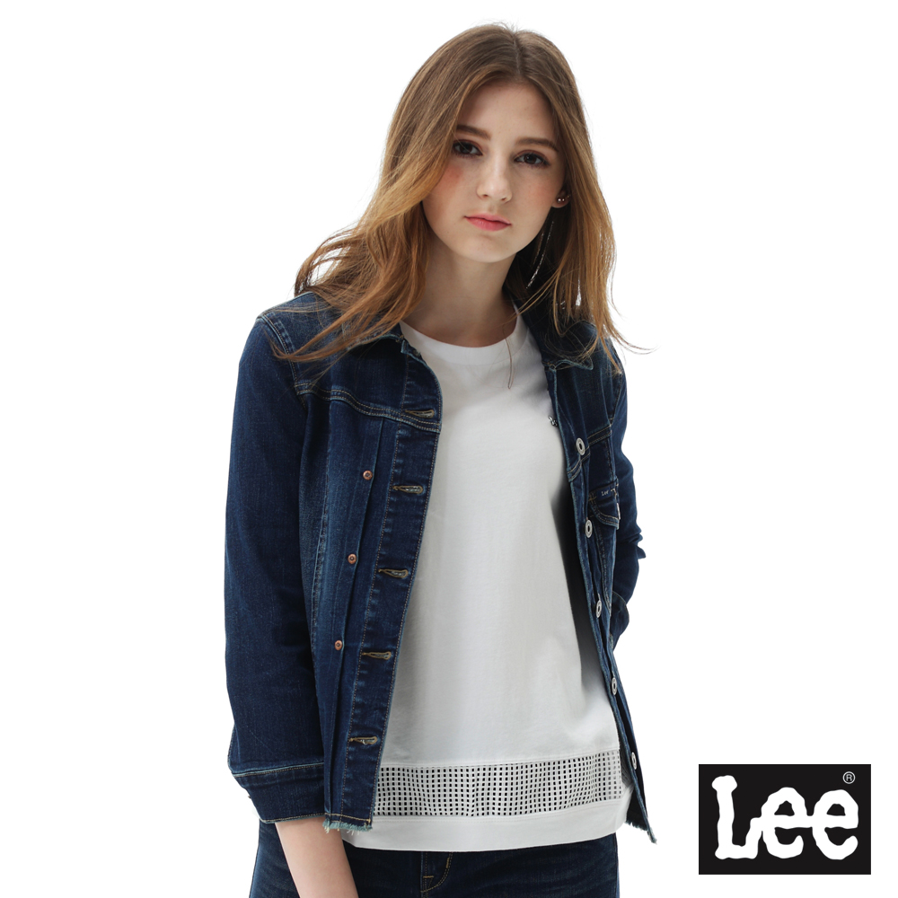 Lee 七分袖牛仔外套-女款-藍色