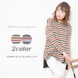 日本ANNA LUNA 預購-長版配色條紋前短後長上衣(共二色/M-3L)