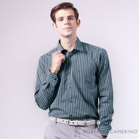 ROBERTA諾貝達 進口素材 台灣製 純棉 雙色條紋時尚長袖襯衫 藍灰