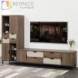 Bernice-拜爾8尺工業風L型電視櫃組合(展示櫃+長櫃)