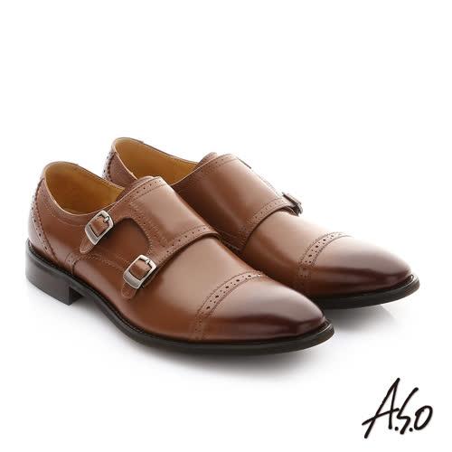 A.S.O 職人通勤 牛皮鬆緊帶皮鞋(茶)