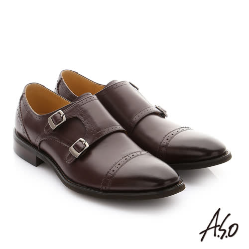 A.S.O 職人通勤 牛皮鬆緊帶皮鞋(咖啡)