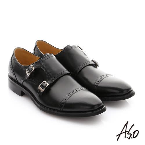 A.S.O 職人通勤 牛皮鬆緊帶皮鞋(黑)