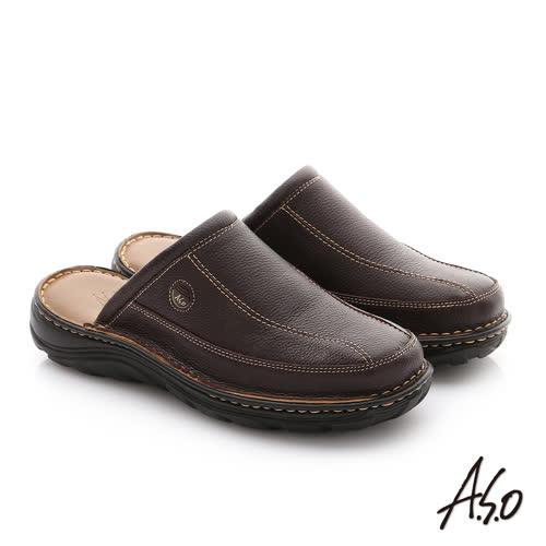 A.S.O 抗震雙核心 摔花牛皮紳士休閒張菲鞋(咖啡)