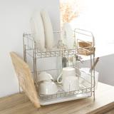 Peachy life 不鏽鋼萬用雙層碗盤架/收納架/瀝水架