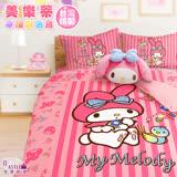 【享夢城堡】單人床包枕套3.5X6.2二件式組 - My Melody美樂蒂 幸福彩色鳥-粉