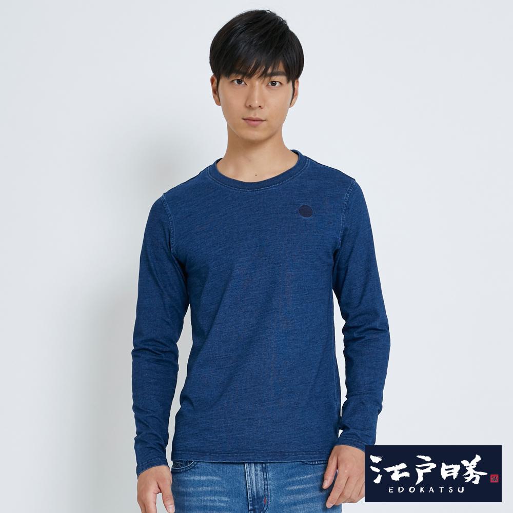 EDWIN 江戶勝 INDIGO圓領長袖T恤-男-酵洗藍