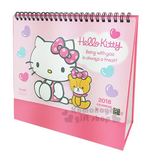 〔小禮堂〕Hello Kitty  2018桌曆《粉.粉底.立體泡殼.側坐.小熊.彩色愛心》