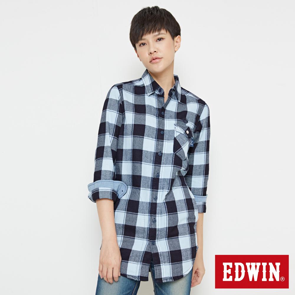 EDWIN 江戶勝長版格紋襯衫-女-丈青
