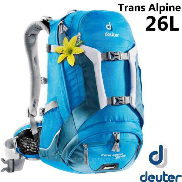【德國 Deuter】Trans Alpine 26L 自行車網架透氣背包(附防雨罩+反光標緻+YKK拉鍊).旅遊休閒背包.登山背包.雙肩後背包 _32213 藍/深藍