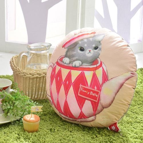 義大利Fancy Belle X DreamfulCat《茶壺躲貓貓》數位造型抱枕 42*42CM