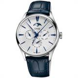 Oris 豪利時 Artelier藝術家月相盈虧機械錶-銀x藍/40.5mm 0178177294051-0752166FC