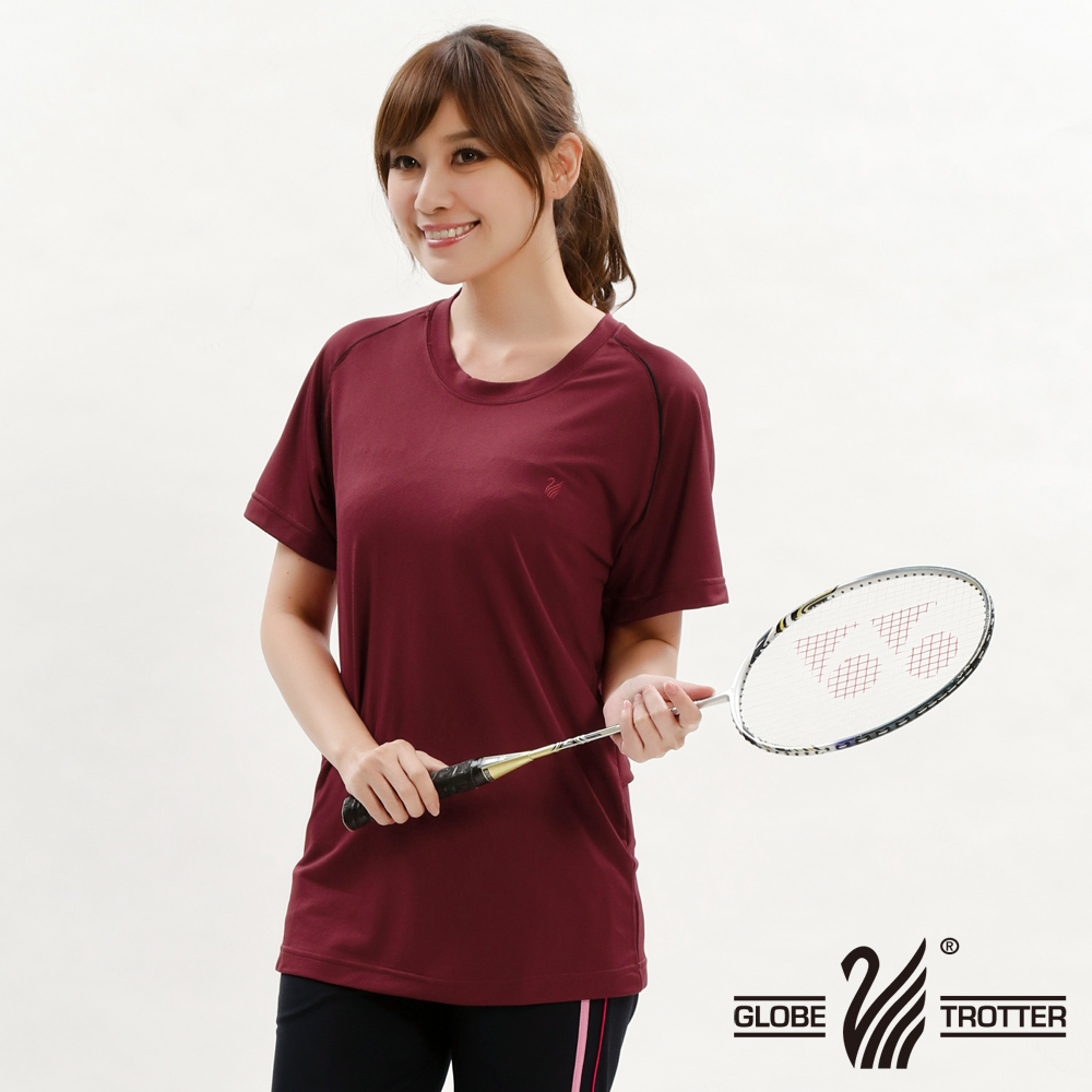 【遊遍天下】台灣製中性款涼感圓領吸濕排汗機能衫S0707磚紅