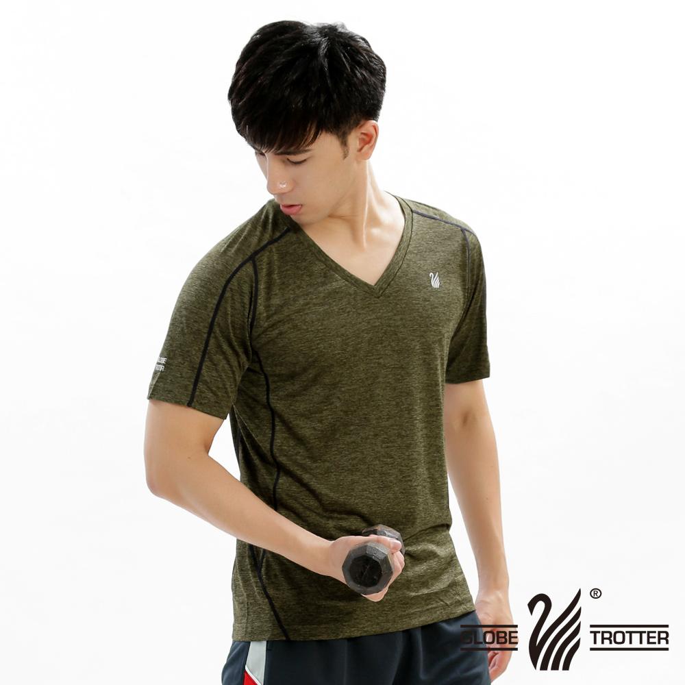 【遊遍天下】男款透氣吸排抗UV速乾V領衫GS20005灰綠