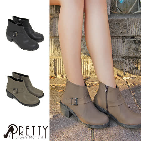 Pretty 釦環側拉鍊中粗跟短靴