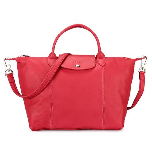 Longchamp Le Pliage Cuir小羊皮短把折疊中型水餃包-粉色