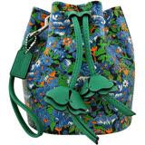 COACH 花朵圖樣水桶手提包-藍色