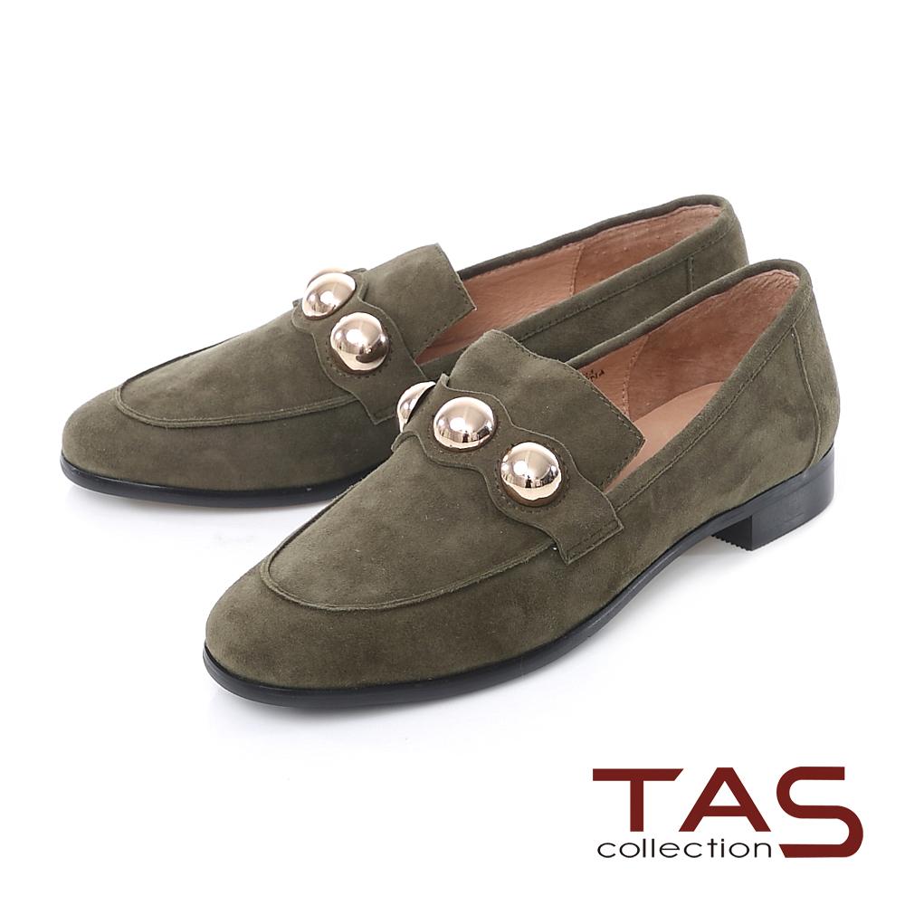 TAS 麂皮半圓金屬扣飾樂福鞋-草墨綠