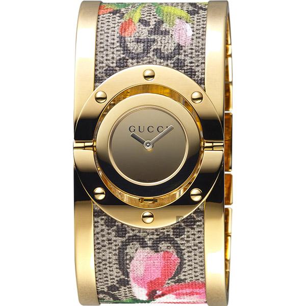 GUCCI 古馳 Twirl 花朵綻放手環錶-金/33mm YA112443