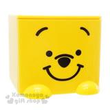 〔小禮堂〕迪士尼 小熊維尼 桌上單抽積木收納盒《黃.趴姿.大臉》可多個推疊