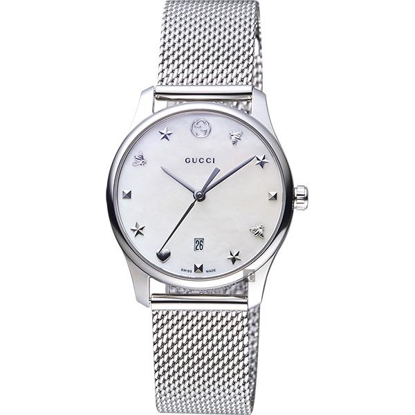 GUCCI古馳 G-Timeless 超薄米蘭帶女錶-珍珠貝/29mm YA126583